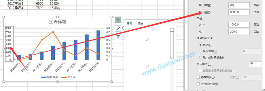 EXCEL完成一个柱形图与折线图组合图表